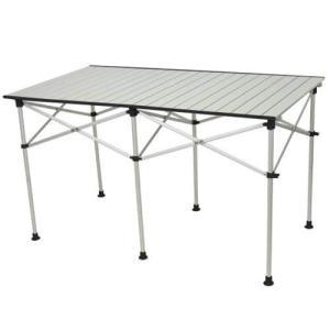 クイックキャンプ 折りたたみ アルミロールテーブル 123×70cm アウトドア テーブル 高さ調節...