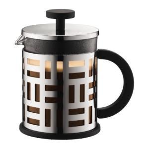 EILEEN アイリーンフレンチプレスコーヒーメーカー ステンレス 0.5L 本体を包むステンレスの...