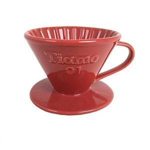 【在庫限り】 ティアモ(Tiamo) 円錐陶器ドリッパー 1-2人用 レッド HG5272|tonya