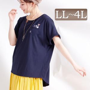 大きいサイズ レディース レディス トップス Tシャツ 半袖 猫 マリン プリント フレンチスリーブ クール ドライ LL 2L 3L 4L 13号 15号 17号 ネイビー 夏 春|tonyakan