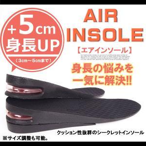 インソール メンズ 中敷き シークレット インヒール クッション エアーインソール 靴 シューズ ブーツ スニーカー用 衝撃吸収