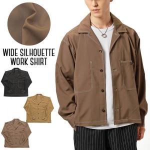メンズワークシャツ  BIGポケット オーバーサイズ ビッグシルエット ワイドシルエット ドロップショルダー 無地 長袖 シャツジャケット 男女兼用 tool-power