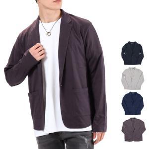 テーラードジャケット メンズ カーディガン 無地 長袖 カットソー素材|tool-power