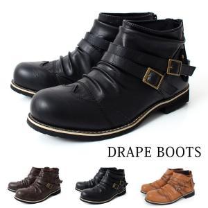 ブーツ メンズ ショートブーツ エンジニアブーツ ワークブーツ ダブルベルト 2連ベルト ドレープ 靴 シューズ|tool-power