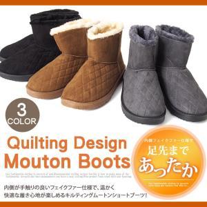 ムートンブーツ メンズ ブーツ キルティング 裏ボア 暖かい 裏起毛 フェイクファー エンジニアブーツ ショートブーツ|tool-power
