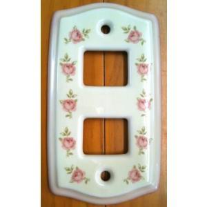DIY女子 スイートローズ 陶器のスイッチカバー 2ツ穴 ネジ付|tool4u