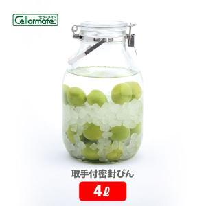 保存容器 取手付密封びん 4L セラーメイト 星硝 ガラス 梅酒瓶 果実酒瓶 調味料入れ おしゃれ|toolandmeal