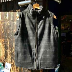 サイズ限定セール green clothing グリーンクロージング BOA VEST ボアベスト CHARCOAL BOAxBLACK CHECK 【ミッドレイヤー】【ベスト】【リバーシブル】|toolate