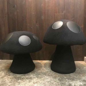 mushroom chair handmade by yanyan japan ヤンヤンデザインワークス ハンドメイドキノコ椅子オールブラック 足利 デザイン2|toolate