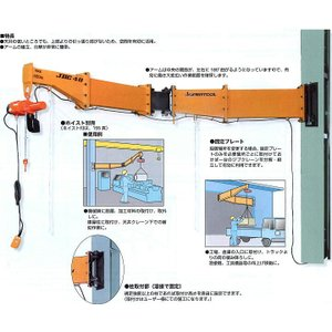 JBC1521H ジブクレーン柱取付・シンプル型 スーパーツール 自在関節式●建屋などの柱に溶接、ま...