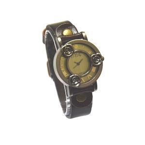KB7003  かわいいローズ柄 ファッションウォッチ 腕時計 クオーツタイプ 本革 濃茶色