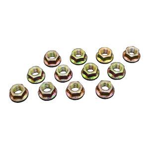 フランジナット ピッチ1.25 ヘッド14mm 12個セット サンコー製 クロームメッキ 10セレート付き|toolshop-dream