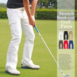 ゴルフウェア メンズ ゴルフパンツ ブーツカット ローライズ 美脚 脚長 カーゴパンツ ストレッチパンツ ボトムス ゴルフウエア チノパン スポーツ ズボン|topism