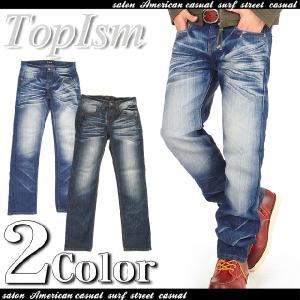 メンズジーンズ デニムパンツ 立体ヒゲ加工 ストレート ビンテージ加工 ジーンズ gパン デニム パンツ ボトムス メンズファッション 通販|topism