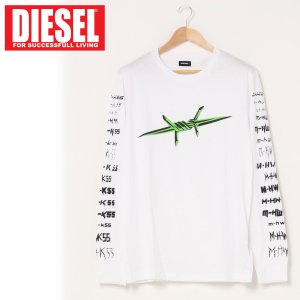 DIESEL ディーゼル ロンT グラフィック プリント ロングスリーブ Tシャツ カットソー 長袖 メンズ ブランド|topism