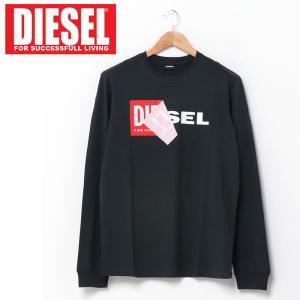 DIESEL ディーゼル Wロゴ プリント クルーネック 長袖 Tシャツ メンズ ブランド|topism