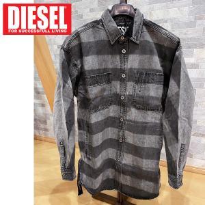 DIESEL ディーゼル ボーダー染めデニムシャツジャケット 「D-LOREN」 メンズ ブランド|topism