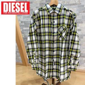 DIESEL ディーゼル オーバーサイズ ダメージ リメイク チェックシャツ 「S-MACHITO」 メンズ ブランド|topism