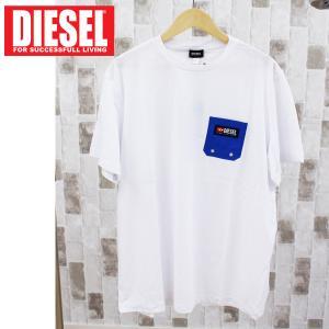 DIESEL ディーゼル ロゴ刺繍 クルーネック 半袖ポケットTシャツ「T-JUSTBNAVJ」メンズ ブランド|topism