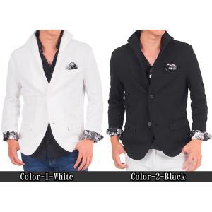 テーラードジャケット メンズ イタリアンカラー ジャケット スウェット ポンチ 花柄 フラワー 長袖 topism 02