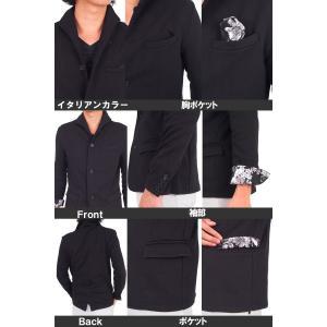 テーラードジャケット メンズ イタリアンカラー ジャケット スウェット ポンチ 花柄 フラワー 長袖 topism 03