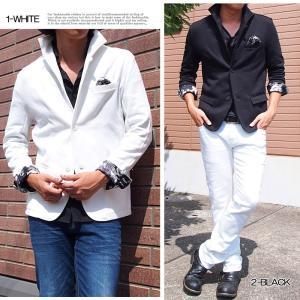 テーラードジャケット メンズ イタリアンカラー ジャケット スウェット ポンチ 花柄 フラワー 長袖 topism 05