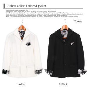 テーラードジャケット メンズ イタリアンカラー ジャケット スウェット ポンチ 花柄 フラワー 長袖 topism 06