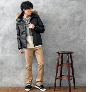 中綿ジャケット メンズ アウター ブルゾン ジャンパー フードファー キルティング ジャケット フェイクレザー|topism|04