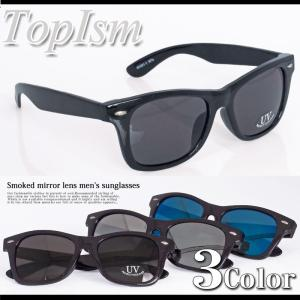 サングラス メンズ ミラーサングラス スモーク ミラーレンズ ウェリントン スクエア ファッション小物 グラサン メガネ 眼鏡|topism