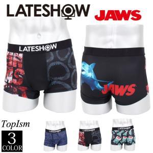 メンズボクサーパンツ JAWS ジョーズ×LATESHOW レイトショー 男性用下着 水着インナー メンズインナー エステル素材 ストレッチ素材 総柄|topism