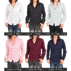 シャツ メンズ ボタンダウン ブロード無地 デュエボットーニ ドレスシャツ 長袖 シャツ  カジュアルシャツ|topism|02