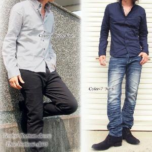 シャツ メンズ ボタンダウン ブロード無地 デュエボットーニ ドレスシャツ 長袖 シャツ  カジュアルシャツ|topism|06