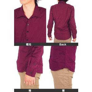 シャツ メンズ 長袖 カジュアルシャツ メール便送料無料 無地 スキッパーシャツ ドレスシャツ ブロード コットン 綿100% 白シャツ ホワイト|topism|03