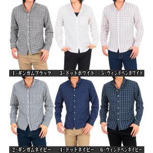 シャツ メンズ ボタンダウンシャツ ウインドウペンチェック 水玉 ドット ギンガムチェック 長袖シャツ カジュアルシャツ|topism|02