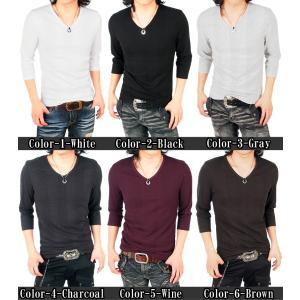 カットソー Vネック 7分袖 メンズ Tシャツ 無地 インナー 7分丈 七分袖 ティーシャツ|topism|02