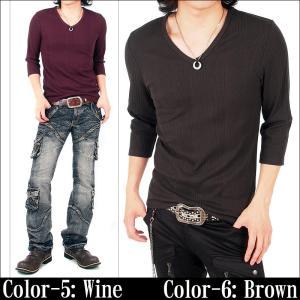カットソー Vネック 7分袖 メンズ Tシャツ 無地 インナー 7分丈 七分袖 ティーシャツ|topism|06