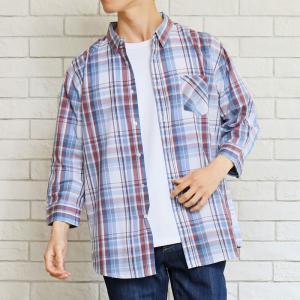 チェックシャツ メンズ 7分袖 シャツ 七分袖 ボタンダウン カジュアルシャツ マドラスチェック柄 オンブレー 半袖 夏|topism