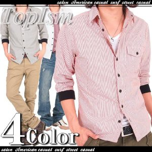 メンズシャツ オックスフォード ストライプ 袖リブ シャンブレー 7分袖 七分袖 シャツ メンズ カジュアル カジュアルシャツ メンズファッション 通販|topism