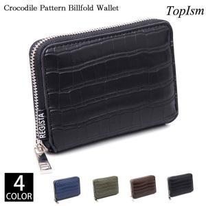 二つ折り財布 メンズ 財布 ラウンドファスナー サイフ さいふ フェイクレザー コンパクトウォレット 2つ折り財布 クロコ型押し ジップ カード小銭入れ男性用小物|topism