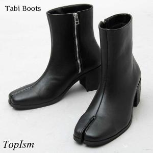 ヒールブーツ メンズ 足袋ブーツ サイドジップブーツ ショートブーツ たび タビ シューズ 靴|topism