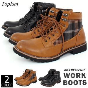 ブーツ メンズ ワークブーツ サイドチェック レースアップブーツ フェイクレザー 靴 シューズ|topism