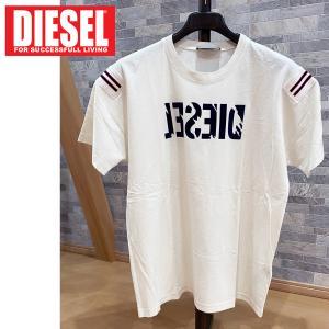 DIESEL ディーゼル スクラッチロゴ プリント 袖ライン クルーネック 半袖Tシャツ「T-TRYLL」メンズ ブランド|topism