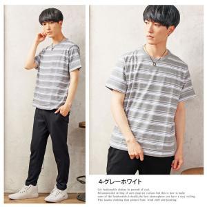 Tシャツ メンズ 半袖 ボーダーTシャツ Vネック ボーダー Tシャツ カットソー マリンボーダー ランダム 春夏|topism|06