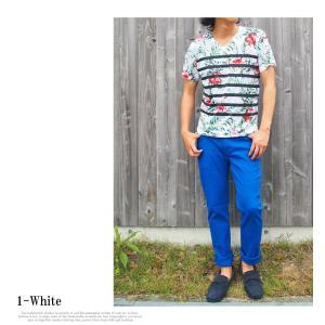 Tシャツ メンズ 半袖 Vネック ボーダー フラワープリントTシャツ 花柄Tシャツ|topism|03