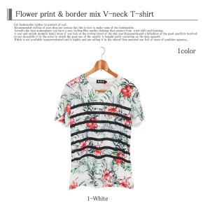 Tシャツ メンズ 半袖 Vネック ボーダー フラワープリントTシャツ 花柄Tシャツ|topism|04