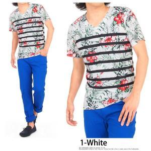 Tシャツ メンズ 半袖 Vネック ボーダー フラワープリントTシャツ 花柄Tシャツ|topism|05