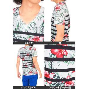 Tシャツ メンズ 半袖 Vネック ボーダー フラワープリントTシャツ 花柄Tシャツ|topism|06