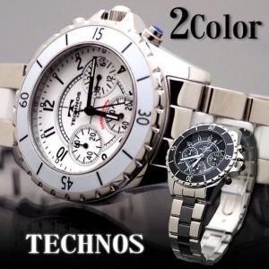 腕時計 メンズ TECHNOS ステンレス クロノグラフ 10気圧防水 新作 2012|topism