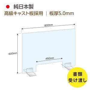 日本製 高透明アクリル板 (キャスト板採用) W900*H600mm 窓付き 飛沫防止 デスク用仕切り板 コロナウイルス対策 対面式スクリーン 受付 skap5-9060-m45|topkanban