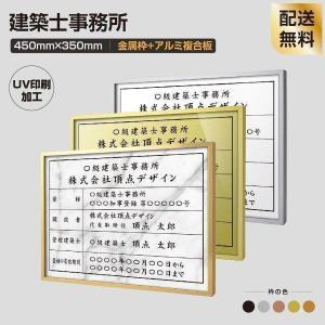 TOP看板 建築士事務所登録票 455mm×355mm 選べる面板 選べる書体 アルミ板 額縁 UV印刷  法定サイズクリア  事務所用 事務所看板 sl1035-wrg-jms|topkanban